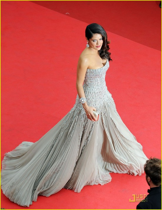 Nude strapless beaded Gucci gown with waist-cinching corset at Cannes 2011