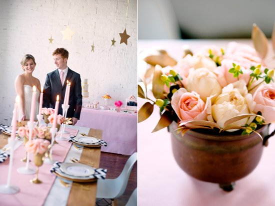 Romantic summer wedding inspiration with peach Juliet Peony Roses