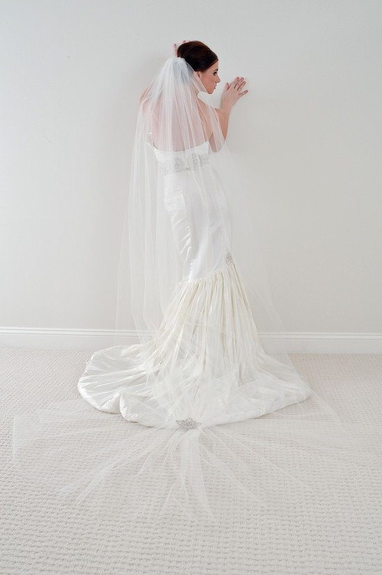 photo of Cathedral length tulle bridal veil by arielj on Etsy