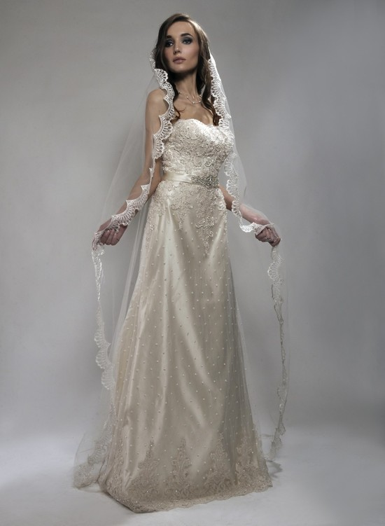 photo of Chapel length bridal veil (mantilla style) by Alisa Brides