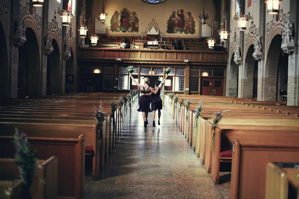 Traditional-wedding-ceremony-catholic-church-wedding-venue-bridesmaids-black-dresses.full