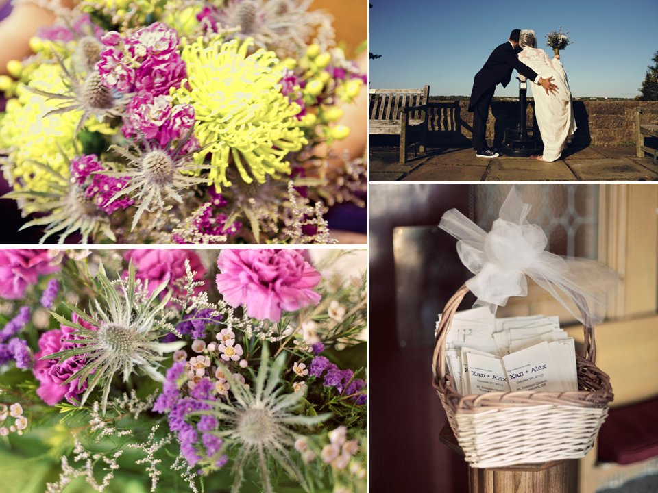 Vibrant pink, yellow, purple wedding flowers and simple white wedding programs