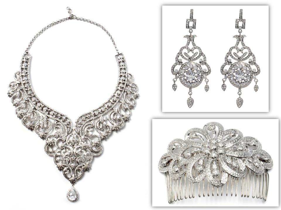 dazzling statement bridal necklace chandelier earrings