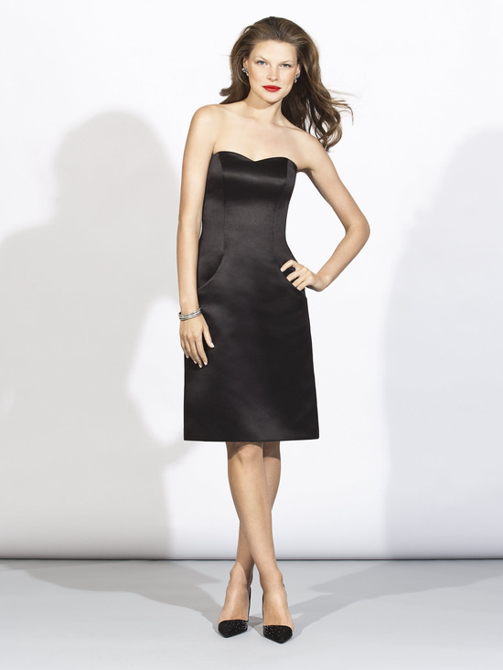 Sweetheart neckline satin black bridesmaid dress