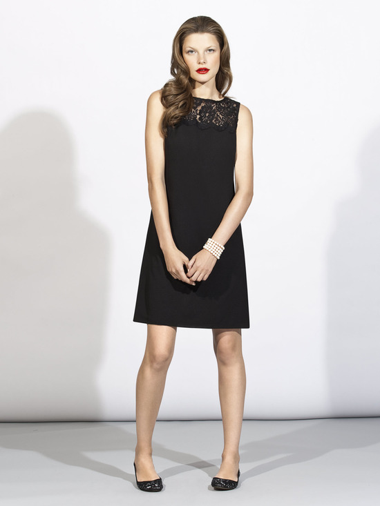 Stylish little black bridesmaid dress with sheer lace neckline