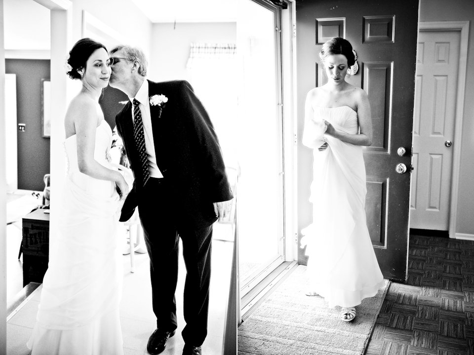 Chic black and white wedding photogaphy- shabby chic bride gets kiss from father before ceremony