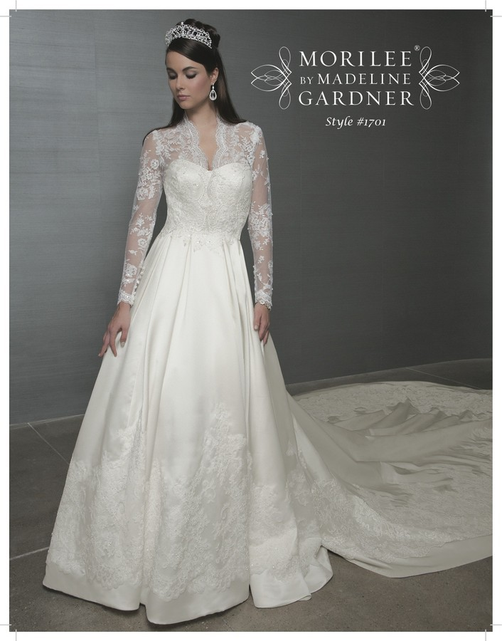 Kate Middleton-inspired Mori Lee a-line bridal gown with lace sleeves