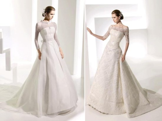 Kate Middleton-inspired long sleeved a-line Manuel Mota wedding dresses
