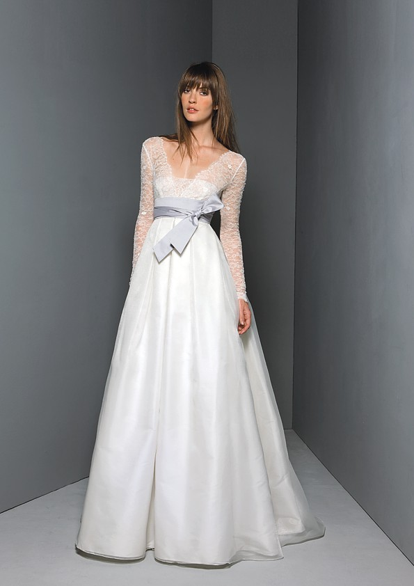 Classic ivory a-line sleeved wedding dress inspired by the royal wedding