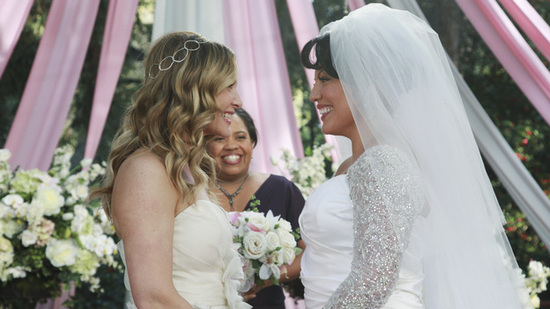 On Grey's Anatomy May 2011 wedding, Callie wears Miranda gown from Kenneth Pool's Spring 2012 collec