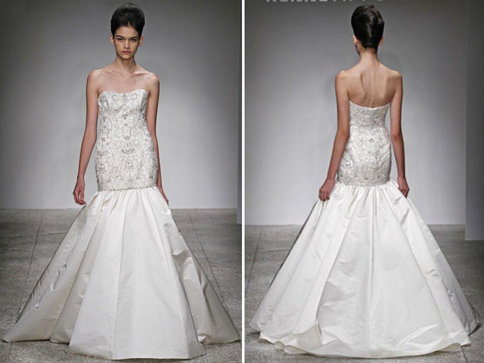 Drop waist ivory trumpet wedding dress with beaded crystal for Beaded trumpet wedding dress