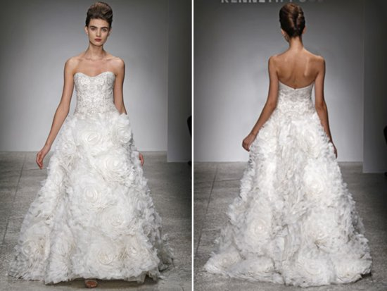 Dramatic white ballgown sweetheart wedding dress with textured skirt by Kenneth Pool