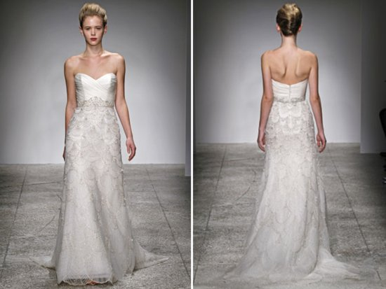 Romantic ivory modified a-line sweetheart embellished wedding dress by Kenneth Pool