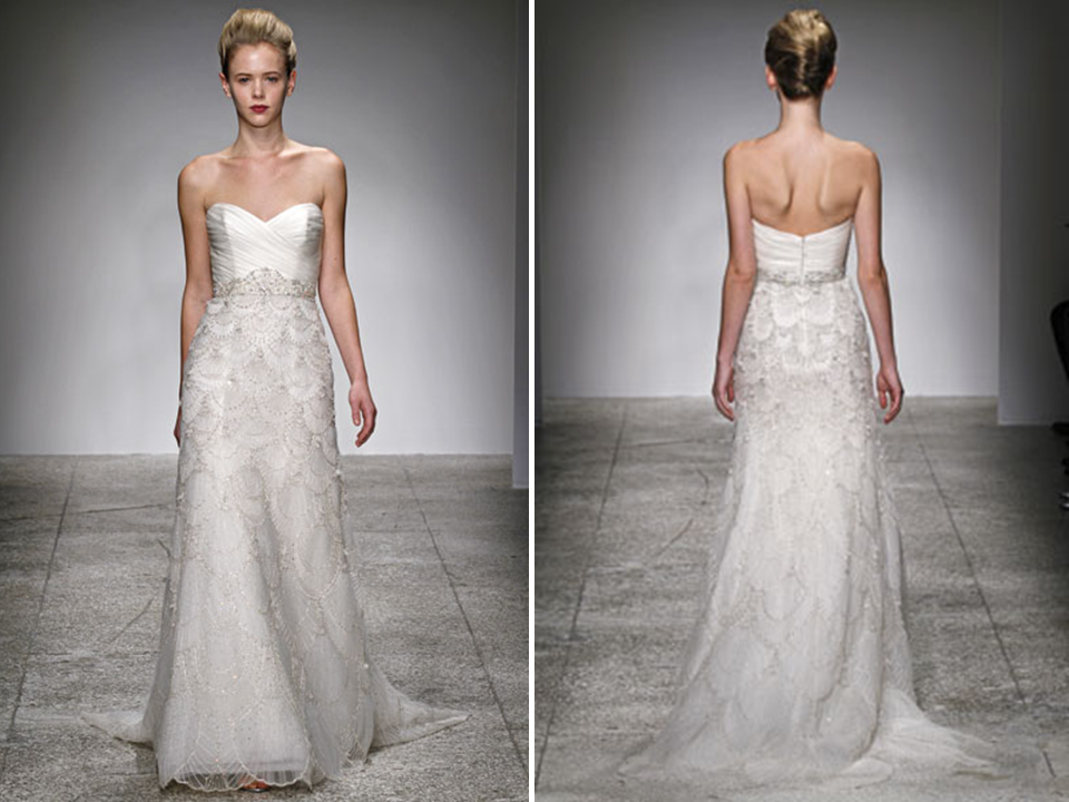 Wedding Dresses Modified A Line : Romantic ivory modified a line sweetheart embellished wedding dress by