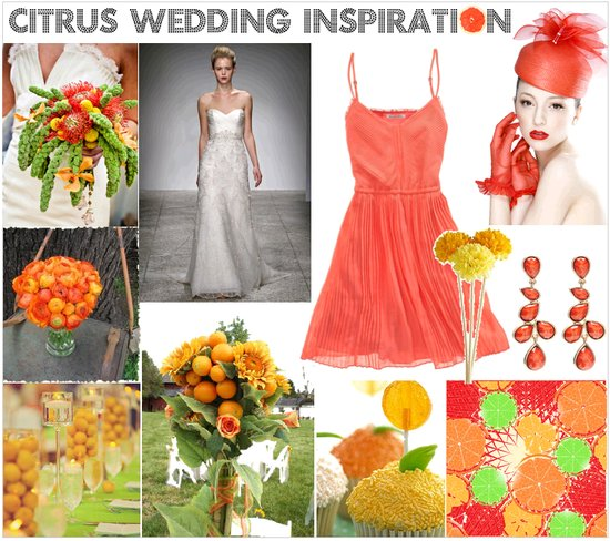 Coral, lemon and tangerine citrus wedding inspiration