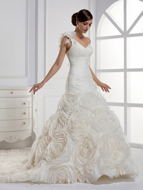 One Shoulder Sheath A Line Train Pleated Floral Wedding Dress