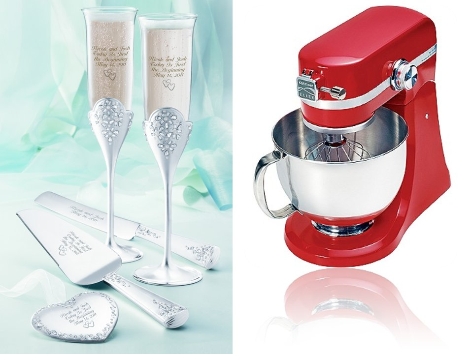 Wedding giveaways from OneWed- an engraved wedding set and registry must-have
