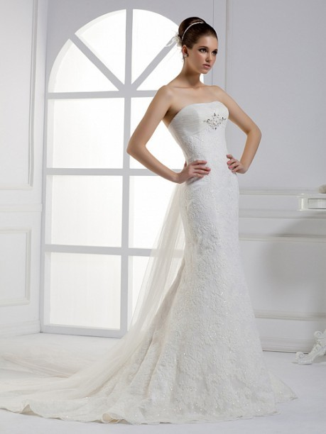 Floor-Length Off Shoulder Mermaid Train Belt Organza Lace Wedding Dress Product description