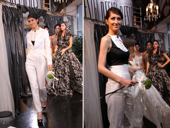 Chic ivory tailored bridal tux for a same-sex marriage
