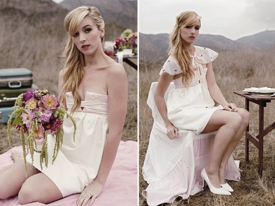 photo of Bow front mini wedding dress by Lovey Bridal
