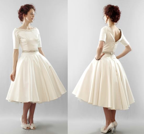 Modest ivory vintage-inspired tea length bridal gown
