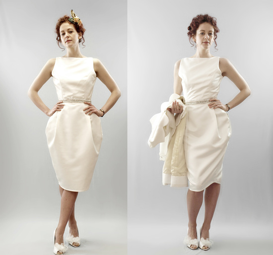 Chic vintage-inspired ivory column gown with a knee-length hem