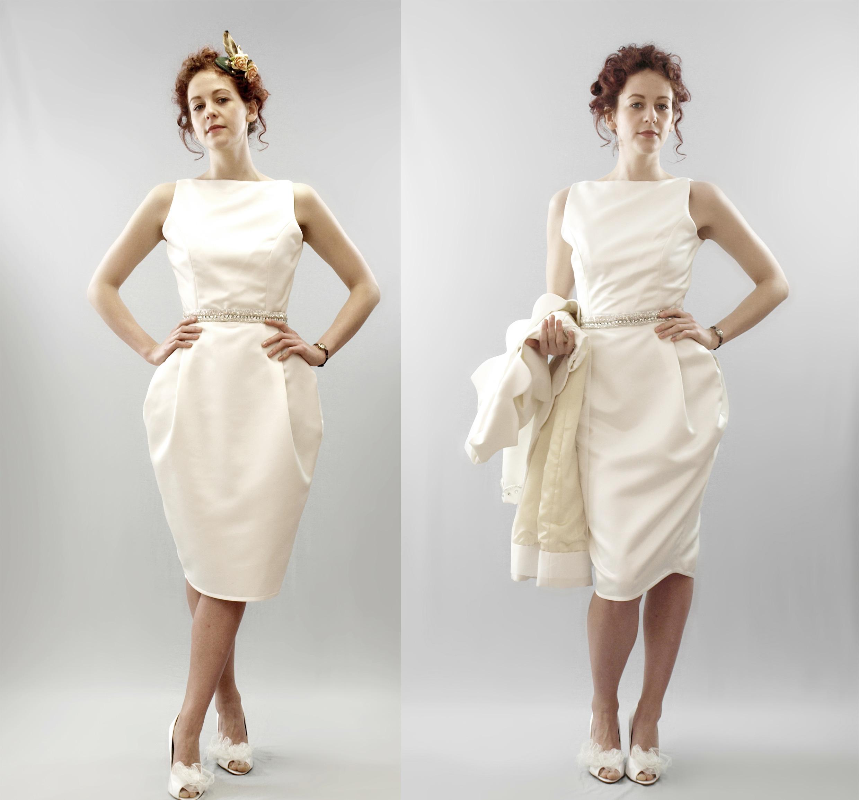 Short wedding dresses vintage inspired tea length bridal gown column