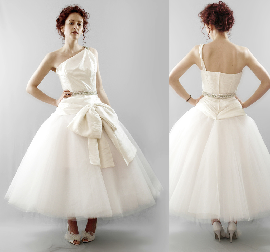 Chic tea length vintage inspired wedding dress with one for Vintage wedding dresses tea length