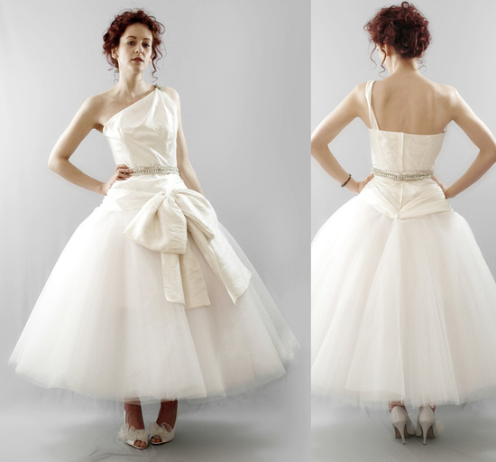 Chic tea-length vintage-inspired wedding dress with one-shoulder neckline