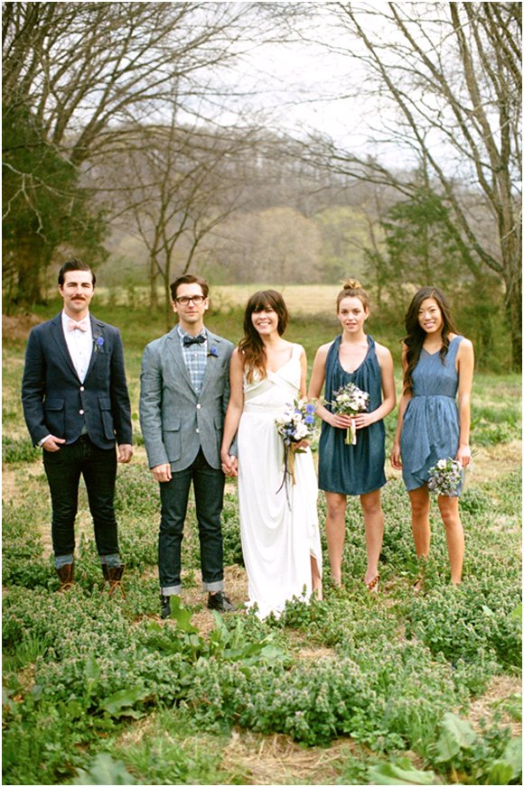 Denim-wedding-inspiration-bride-groom-cheers-white-wedding-dress-blue-bowties.full
