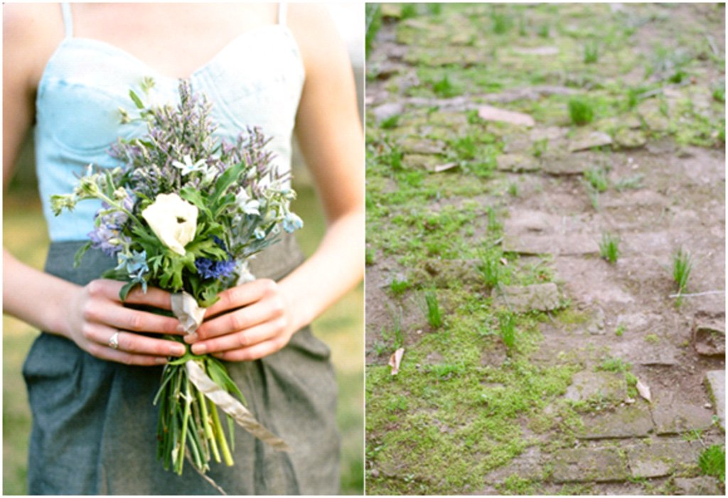 Casual Bridesmaid Wears Denim Dress Boots While Holding Simple Bouquet