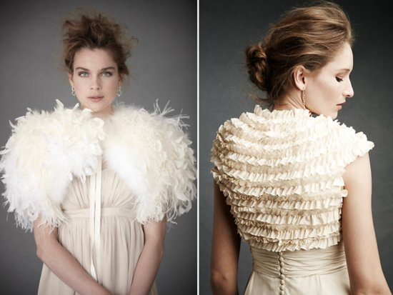 Chic Ostrich feather bridal bolero for winter weddings from BHLDN