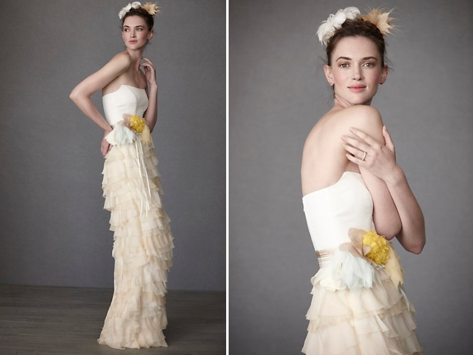 Romantic-column-wedding-dress-bhldn-strapless-bridal-sash-ruffles-wedding-dress.full