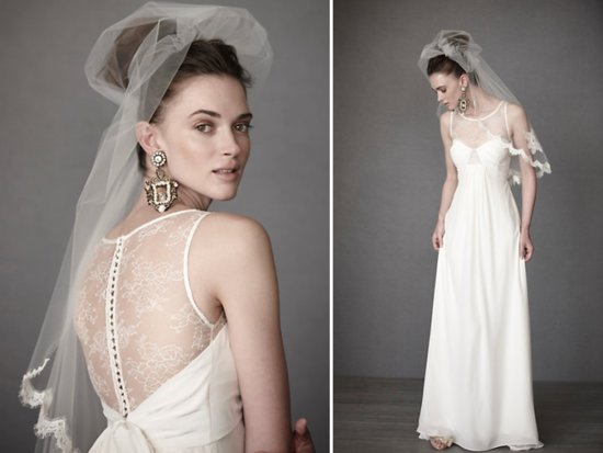 White empire 2011 wedding dress with sheer illusion neckline and lace applique by BHLDN