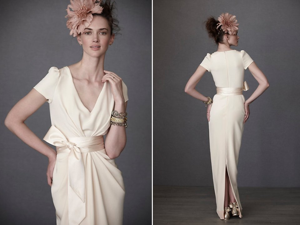Vintage Inspired Ivory V Neck Bridal Gown By BHLDN