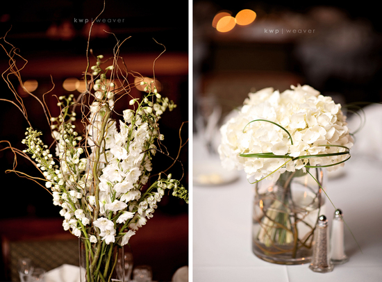 Timeless ivory wedding flowers and reception table centerpieces