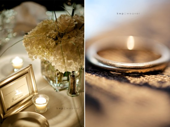 Romantic wedding reception decor with ivory flowers and candlelight