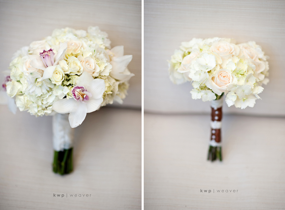 Ivory and blush pink orchid and rose bridal bouquet