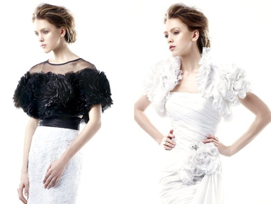 High-fashion black and white bridal boleros by Enzoani