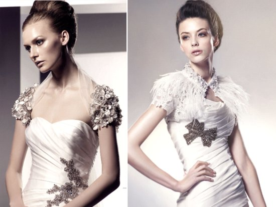 Chic embellished bridal boleros featuring floral applique and feathers