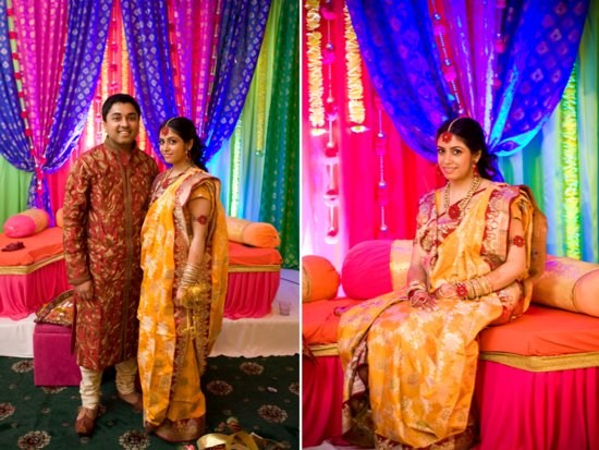 Indian bride and groom in traditional wedding day garb