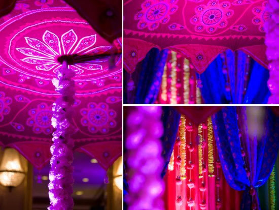 Blue, purple, red and fuchsia wedding color palette for Indian wedding
