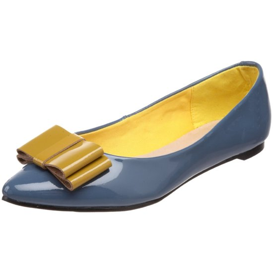 Patent blue bridal flats with gold bow