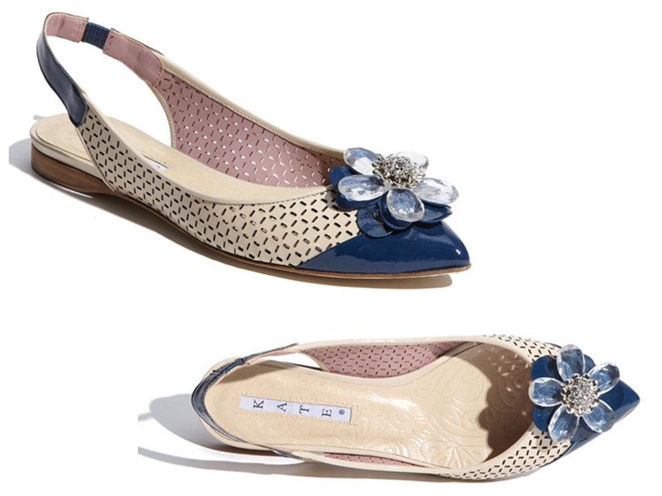 Chic kate spade flat bridal shoe with something blue flower brooch junglespirit Images