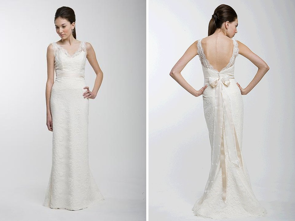 lace column wedding dress with covered buttons down back