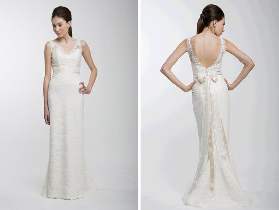 Romantic lace column wedding dress with covered buttons down back