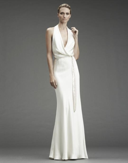 White silk halter column wedding dress with cowl halter neckline