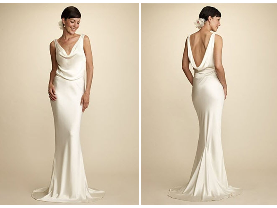 Simple and chic alix and kelly cowl neck wedding dress for Sarah burton wedding dresses official website
