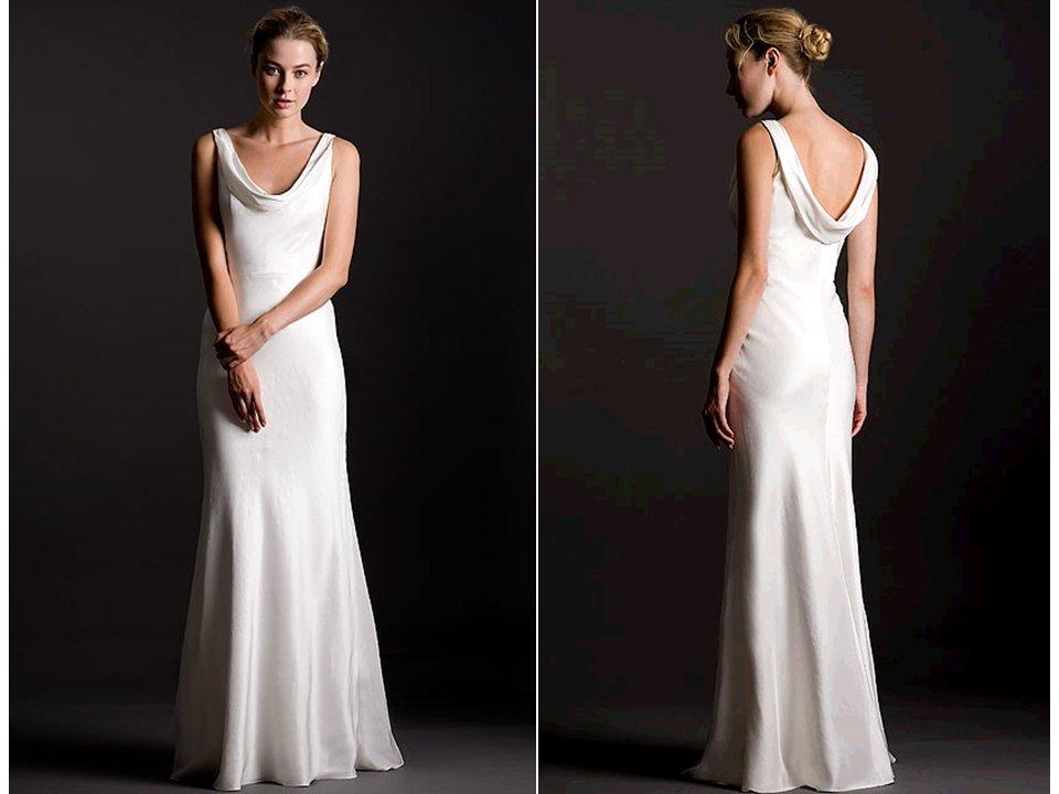 Sleek silk crepe sheath style white wedding dress with for Pippa middleton wedding dress buy