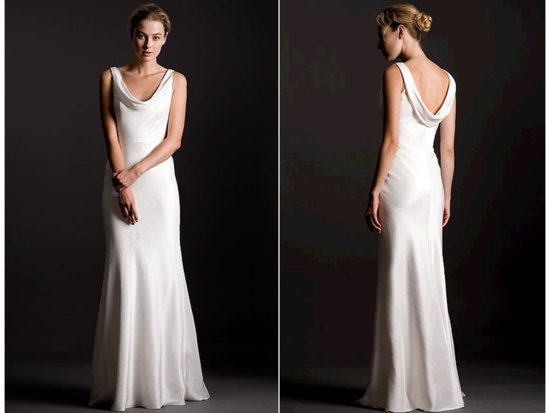 Sleek silk crepe sheath style white wedding dress with cowl detail in front and back